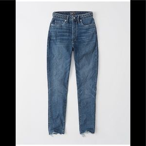 Abercrombie High rise braided waist ankle jeans